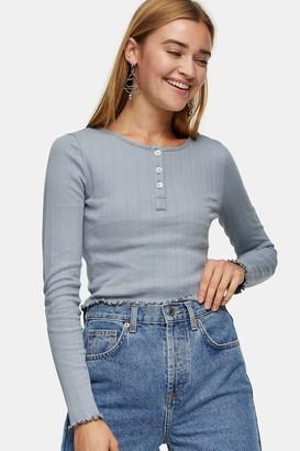 Topshop Womens Blue Long Sleeve Button Through Top - Airforce Blu