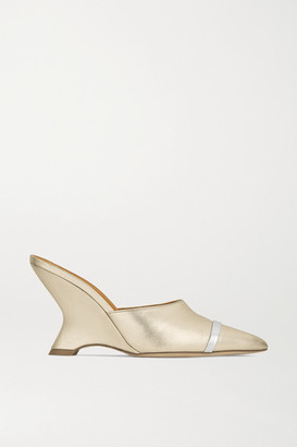 Malone Souliers Marilyn 80 Metallic Leather Mules - Gold