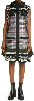 Sacai Side Zip Hooded Tweed Dress