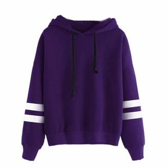Ulanda Eu Womens Hoodies Ulanda-EU Womens Hoodies Women Long Sleeve Striped Printed Sweatshirts Casual Pullover Crop Tops Blouses Hoodie Jumpers Winter Womens Teen Girls (Black M)