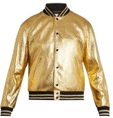 Saint Laurent Metallic Perforated-leather Bomber Jacket