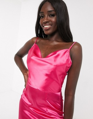 In The Style x Meggan Grubb satin cowl neck midi dress in hot pink