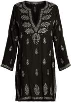 Juliet Dunn Embroidered silk kaftan