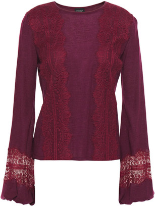 Giambattista Valli Lace-trimmed Cashmere And Silk-blend Top
