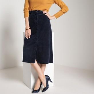 Anne Weyburn Straight Cut Corduroy Midi Skirt with Pockets