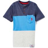 U.S. Polo Assn. Navy & Blue Flake Color Block Henley Tee - Boys