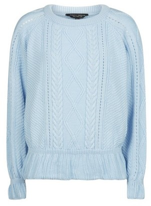 Dorothy Perkins Womens Blue Ruffle Cable Jumper, Blue