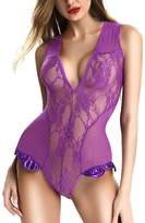 NORA TWIPS Sexy Lingerie for Women One Piece Lace Babydoll Flexible Sleepwear by NT(Puple,M