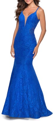 La Femme Sleeveless Lace Mermaid Gown