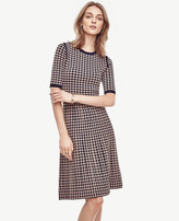 Ann Taylor Houndstooth Flare Sweater Dress