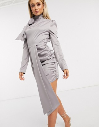 I SAW IT FIRST metallic puff sleeve tie neck dress in grey