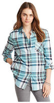 Aeropostale Womens Long Sleeve Light Plaid Flannel Woven Shirt