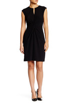 Tahari Twisted Cap Sleeve Sheath Dress (Petite)