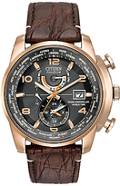 Citizen At9013-11e Limited Edition World Time At Crocodile Leather Strap Watch, Brown/black