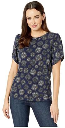 MICHAEL Michael Kors Medallion Petal T-Shirt (True Navy/Dark Chambray) Women's Clothing