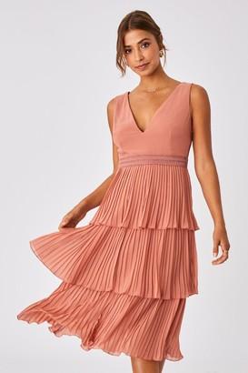 Little Mistress Ada Rose Gold Tiered Hem Midi Dress