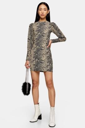 Topshop Womens Snake Crinkle Long Sleeve Mini Dress - Multi