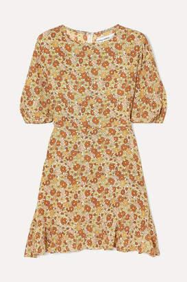 Faithfull The Brand Jeanette Floral-print Ruffled Crepe Mini Dress - Peach