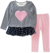 Kids Headquarters 2-Pc. Striped Heart Tunic and Leggings Set, Baby Girls (0-24 months)