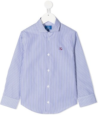 Fay Kids Striped Button-Up Shirt