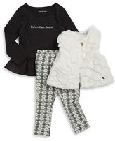 Calvin Klein Girls 2-6x Faux Fur Vest, Logo Tunic and Patterned Pants Set