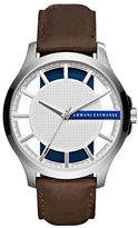 Armani Exchange Hampton Stainless Steel Leather Strap Watch