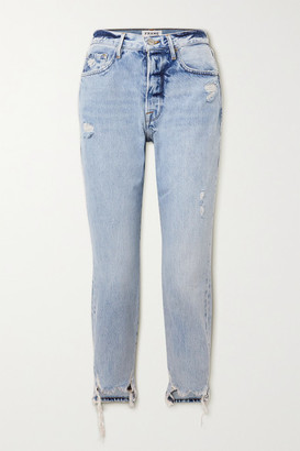 Frame Le Original Distressed High-rise Straight-leg Jeans - Light denim
