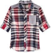 Sean John Herringbone Plaid Shirt, Big Boys (8-20)