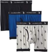 U.S. Polo Assn. Men's 3 Pack Boxer Briefs, Black/Heather Grey/Black