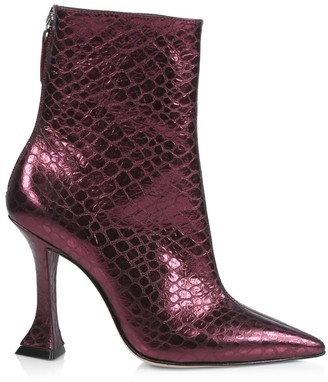 Schutz Loiva Croc-Embossed Metallic Leather Boots