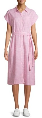 Time and Tru Women's Belted Buttonfront Dress