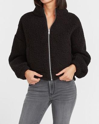 Express Cozy Zip Front Sherpa Sweatshirt