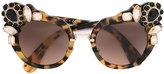 Miu Miu Runway stone-embellished sunglasses - women - Acetate/Crystal/metal - One Size