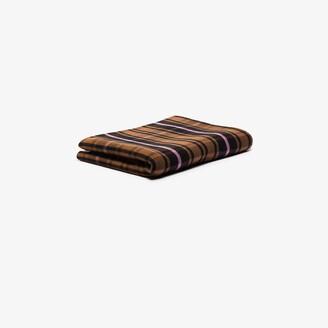 Tekla Brown Checked Merino Wool Blanket