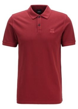 HUGO BOSS Slim Fit Polo Shirt In Washed Cotton Pique - Silver