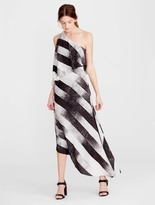Halston One Shoulder Printed Dress