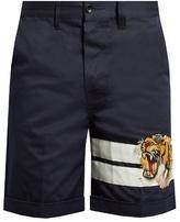 Gucci Tiger-appliqué cotton-gabardine shorts