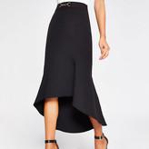 River Island Black snaffle waist fluted midi skirt