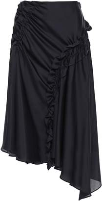 ADEAM Asymmetric Draped Satin Midi Skirt