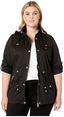 YMI Jeanswear Snobbish Plus Size Jersey Lined Light Cotton Anorak (Black) Women's Clothing