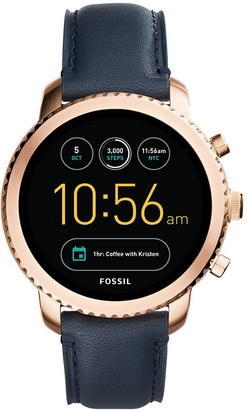 Fossil Q Men's Gen 3 Explorist Stainless Steel and Leather Smartwatch Color: Rose Gold-Tone Blue (Model: FTW4002)