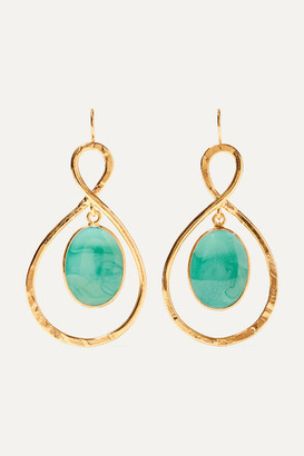 Loulou de la Falaise - Gold-plated And Glass Earrings - Turquoise