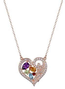 PRIME ART & JEWEL Multi-Gemstone (1-1/3 ct. t.w.) Heart Pendant in 18k Rose Gold Over Sterling Silver