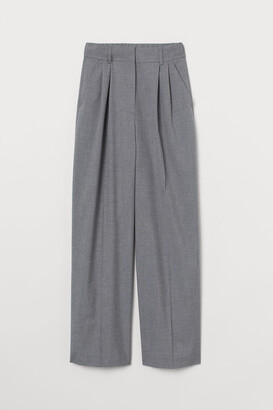 H&M Wide-leg Suit Pants - Gray