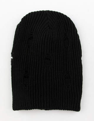 David And Young Slouchy Ribbed Black Womens Beanie