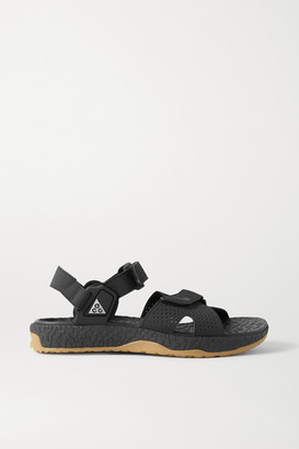 Nike Acg Deschutz Perforated Faux Leather Sandals - Black