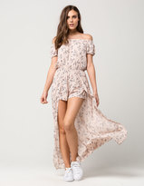 Full Tilt Floral Off The Shoulder Womens Maxi Romper