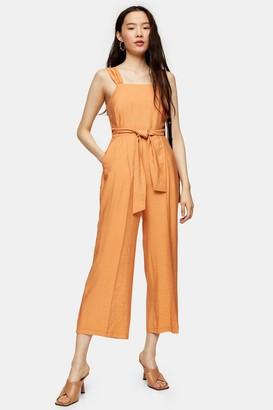 Topshop Womens Apricot Wide Leg Tie Waist Jumpsuit - Apricot