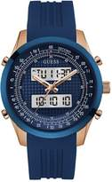 GUESS Blue and Rose Gold-Tone Digital Chronograph Watch