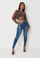 Missguided Tall Blue Clean Distressed Skinny Jeans
